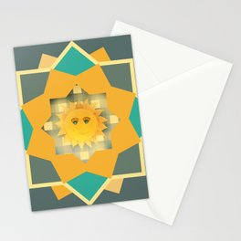 Happy Sun on Plaid Stationery Cards