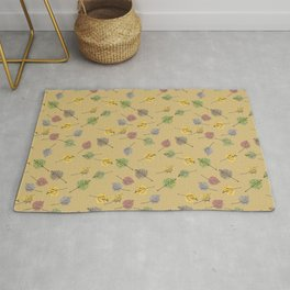 Colorado Aspen Tree Leaves Hand-painted Watercolors in Golden Autumn Shades on Jute Beige Rug