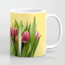 Yellow Bright Light Amber Pink Tulip Blossoms Flatlay Coffee Mug