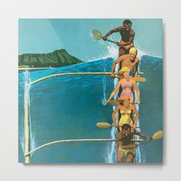 Hawaii, Diamond Head Oʻahu Outrigger United Airlines Vintage Travel Poster Metal Print
