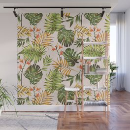 Hand draw tropical leaf pattern Wall Mural