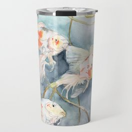 Koi Fish Painting, Underwater Water Lily Travel Mug