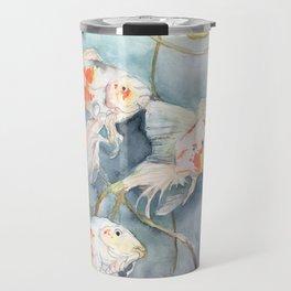 Koi Fish Painting, Underwater Water Lily Travel Mug