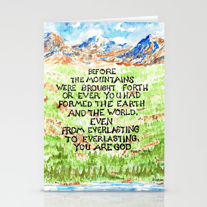 Bible Verse Illustration Psalm 90:2, Picture of Mountains Stationery Cards