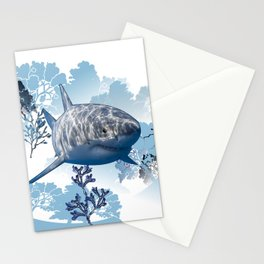 Blue shark coral seaweed wall hanging home deco Stationery Cards