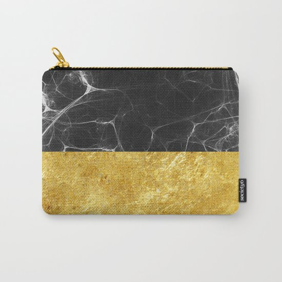 Black Marble and Gold Carry-All Pouch