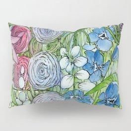 Rainbow Garden Watercolor Ink Painting Pillow Sham