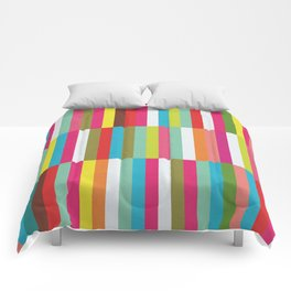 Bright Colorful Stripes Pattern - Pink, Green, Summer Spring Abstract Design by Comforters