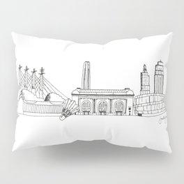 Kansas City Skyline Illustration Black Line Art Pillow Sham