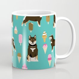 shiba inu black and tan ice cream dog breed pet pattern dog mom Coffee Mug