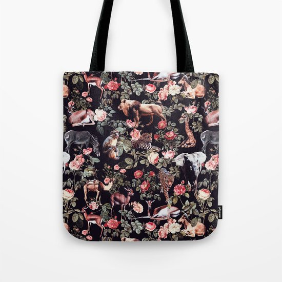 Animals and Floral Pattern Tote Bag