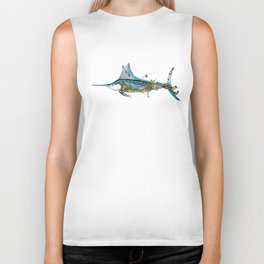 Colored Fisherman Marlin Biker Tank