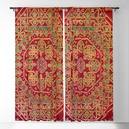 Bohemian Medallion VII // 15th Century Old Distressed Red Green Coloful Ornate Accent Rug Pattern Blackout Curtain
