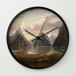 Milford Sound, New Zealand by Eu von Guerard  Romanticism  Landscape Wall Clock