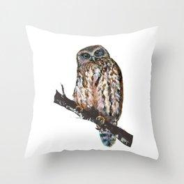 Mrs Ruru, New Zealand Morepork Owl Throw Pillow