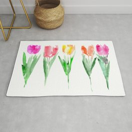 Tulips from the garden || watercolor Rug