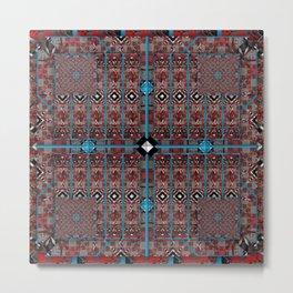 no. 187 red white black pattern with aqua Metal Print