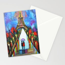 Love In Paris Romantic Painting Valentine Giftart Stationery Cards