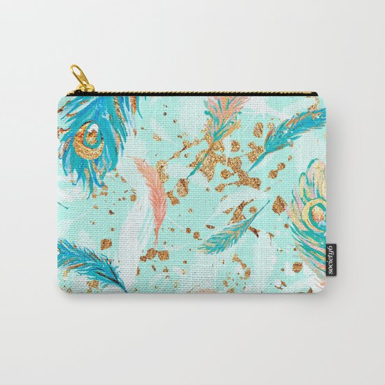 Feather peacock peach mint #1 Carry-All Pouch