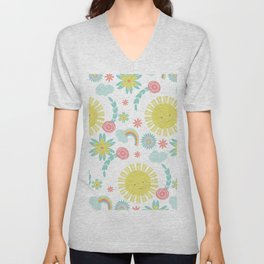 Sunshine Fun Rainbow Floral Pattern Unisex V-Neck