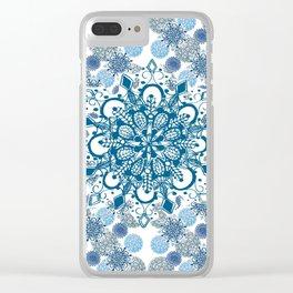 Blue Rhapsody Patterned Mandalas Clear iPhone Case