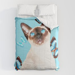 Siamese And Butterflies #society6 #buyart #decor #lifestyle Comforters