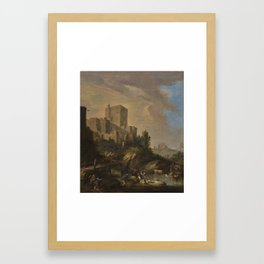 Attributed to Luca Carlevarijs UDINE 1663 - 1730   AN ITALIANATE LANDSCAPE WITH A CASTLE ON A HILL, Framed Art Print