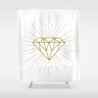 diamond Shower Curtains featuring Diamond by Hipster