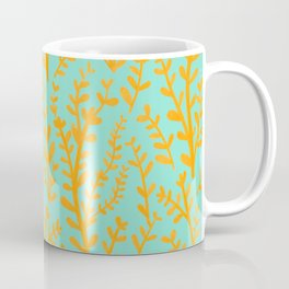 Mint Green and Yellow Leaves Gouache Pattern Coffee Mug
