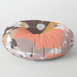 fiona - bright abstract coral pink mustard melon brown dusty rose grey peach Floor Pillow