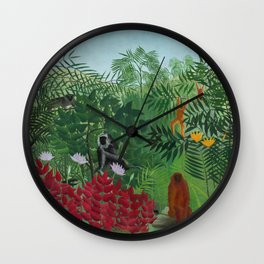 "Henri Rousseau ""Tropical Forest with Apes and Snake"", 1910 Wall Clock"