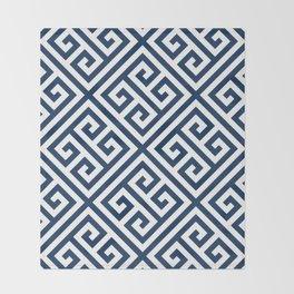 Greek Key Navy Throw Blanket