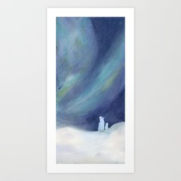 Polar bears and boreal dawn Art Print