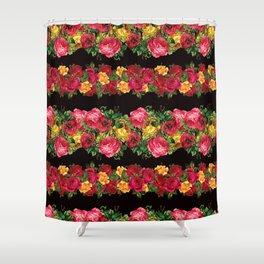 Vertical Rose Floral Garlands in Black Shower Curtain