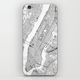 New York City White Map iPhone Skin