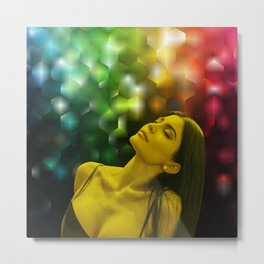 Kylie Jenner - Celebrity - Dreaming Pose (Photographic Art) Metal Print