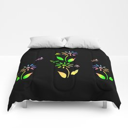 Bees And Flowers Comforters