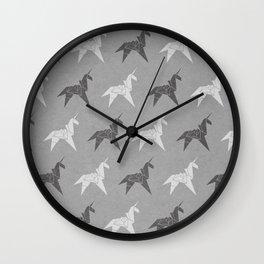 Origami Unicorn Grey Wall Clock