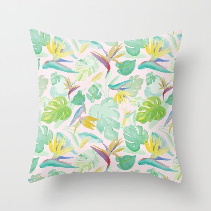 Birds of Paradise Pattern Throw Pillow