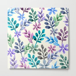 Watercolor Floral Pattern Metal Print