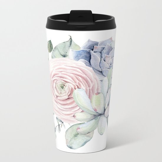 Succulent Blooms Metal Travel Mug