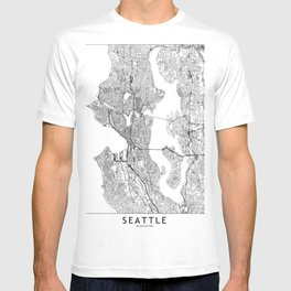 Seattle White Map T-shirt