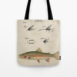 Vintage Rainbow Trout Fly Fishing Lure Patent Game Fish Identification Chart Tote Bag