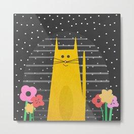 Purrrrty Happy Cat Metal Print