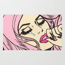 Pastel Pink Sad Girl Rug