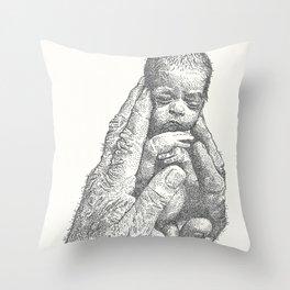 Newborn in hands Throw Pillow