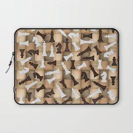 Chess Figures Pattern -Wooden Texture Laptop Sleeve