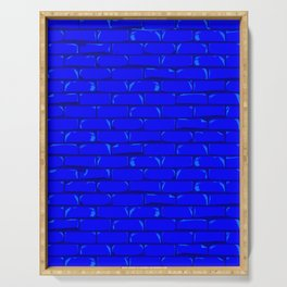 The Bright Blue Brick Wall Background Serving Tray