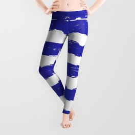 Hand-Drawn Stripes (Navy Blue & White Pattern) Leggings