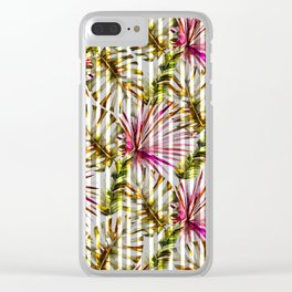 Tropical pink purple sunshine yellow palm tree stripes Clear iPhone Case